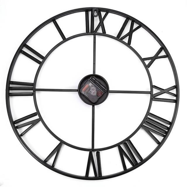 Online Shop Big Iron Retro Wall Clock Art Gear Roman Numerals