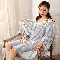 New cotton V collar lace Nightgowns dress sexy female Home Furnishing winter nightdress princess sleepwear women sleeping dress