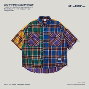 Image 5 - 인플레이션 패치 워크 힙합 셔츠 하라주쿠 일본 격자 무늬 셔츠 반팔 탑 ins 아이콘 셔츠 캐주얼 streetwear unisex 9205 s