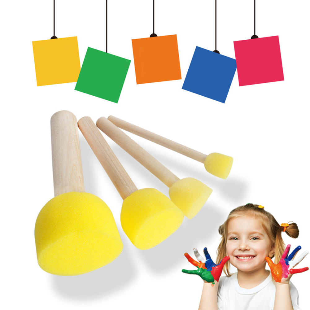 4 Pcs Graffiti Drawing Round Toys Gift For Children Paint Brush Painting Sponge Wood Handles