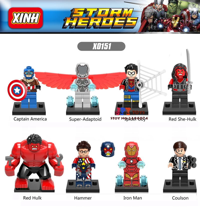80pcs starwars super heroes Spider She-hulk Iron Man Hulk building block brick friends for Gift games children toys iluminador