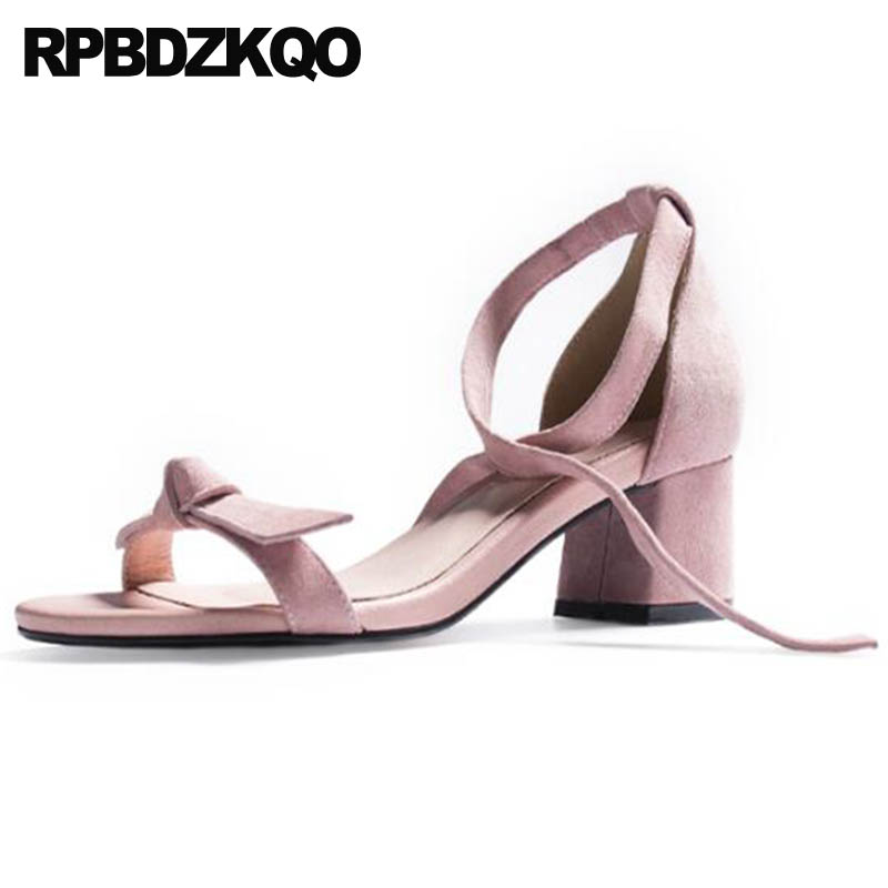 Sandals Square Bow Bowtie Open Toe Heels Pink Pumps Lace Up High Suede Women Shoes Cute Kawaii Block Ankle Strap Thick ElegantSandals Square Bow Bowtie Open Toe Heels Pink Pumps Lace Up High Suede Women Shoes Cute Kawaii Block Ankle Strap Thick Elegant