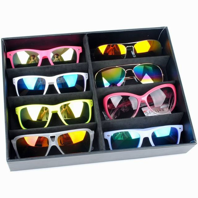 Attrayant Artificial Leather Sunglasses Storage Box Eyewear Organizer Glasses Display  Tray Holder With 8 Compartment