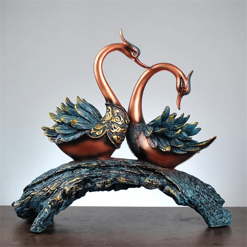 Couple cygne Statue décoration de la maison Sculpture Graden vin meuble TV ornement résine artisanat abstrait Animal Figurine cadeau de mariage