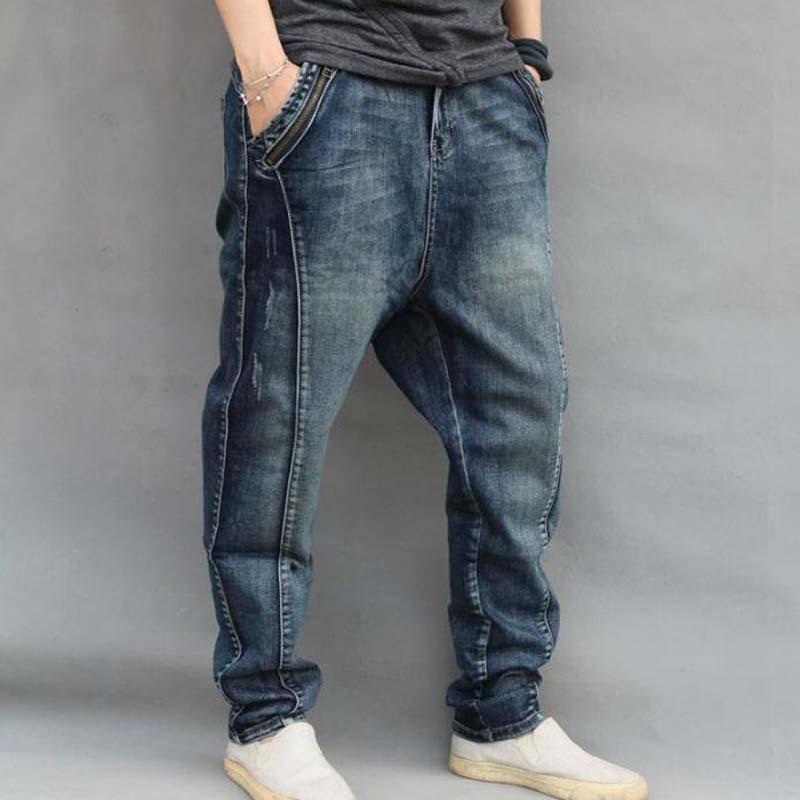 Хип-хоп свободные Для мужчин джинсы больших размеров XXXXXXL Харлан джинсы Для мужчин Костюмы человек мешковатые брюки синий шаровары джинсы м...