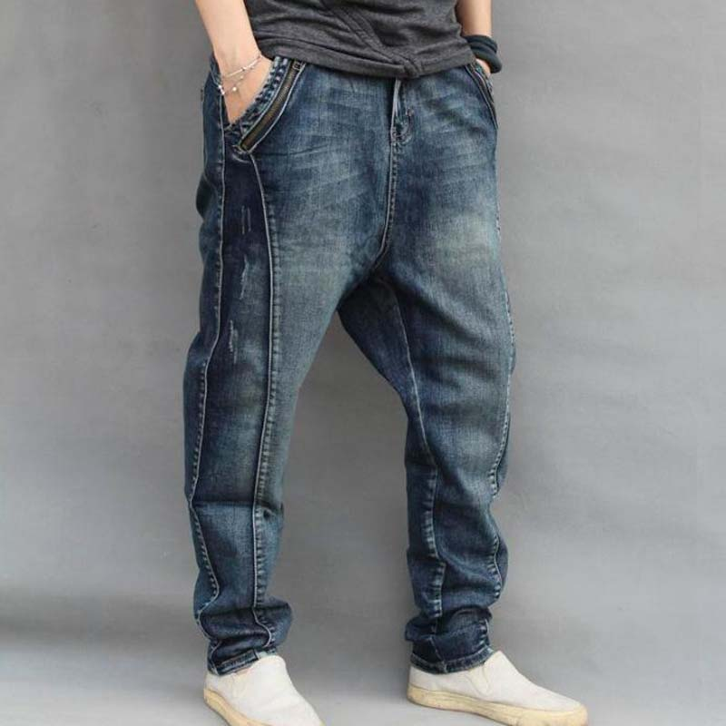 Hip Hop Loose Men's Jeans Large Sizes XXXXXXL Harlan Jeans Men Clothing Man Baggy Trousers Blue Harem Jeans Male Bottoms