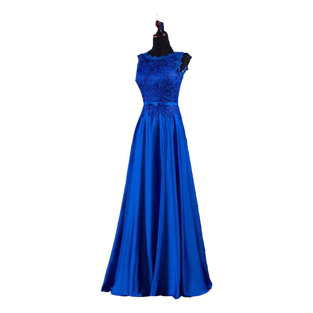 Vestido de festa de casamento 2017 lace and taffeta royal for Blue sash for wedding dress