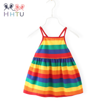 HHTU Baby Girl Streep Suspenders Dress Summer Sleeveless Infant Rainbow Outfits Gifts Princess