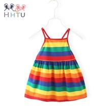 HHTU Baby Girl Streep Suspenders Dress Summer Sleeveless Infant Baby Dress Rainbow Outfits Gifts Princess Dress