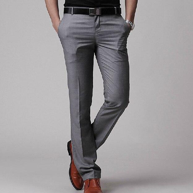 2017 Nueva Marca de Ropa de Los Hombres Pantalones de Vestir Para Hombre de Negocios Formal Pantalones de traje Slim Fit Hombres del Diseño de Corea Pantalones Pantalones Grises negro