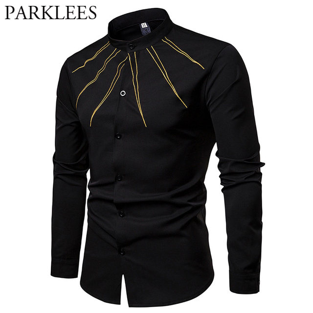 Mens Gold Ray Embroidery Shirt Mandarin Collar Long Sleeve Male Black  Button Up Dress Shirts Casual Fit Plus Size Chemise Homme 72128228c1f4