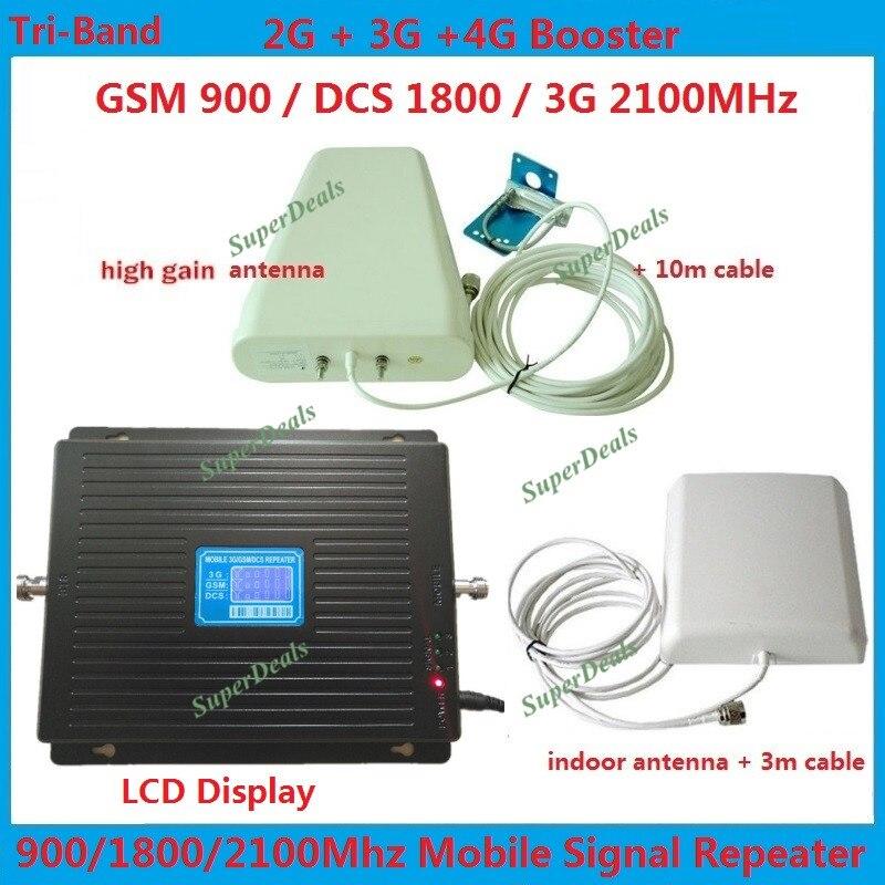 LCD 2G 3G 4G GSM répéteur amplificateurs Tri bande mobile répéteur de signal lte données amplificateur de Signal cellulaire 900 1800 2100 + antennes