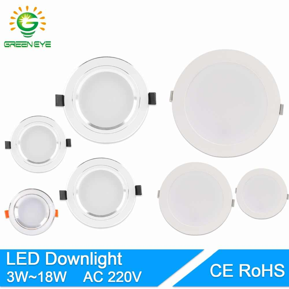 GreenEye Ultra Bright Round LED Downlight 5W 10W 15W Aluminum Bombillas AC 220V LED Down Light Ceiling Recessed Spot Light