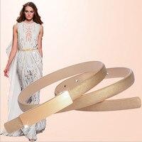2016 New Fashion Cowhide Accessories Decorative Alloy Buckle Genuine Leather Thin Belt Girdle Belt Female Belts