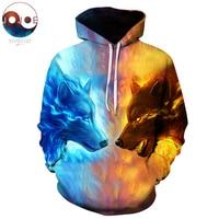 Ice Fire Wolf Hoodies 3D Men Women Sweatshirts Fashion Pullover Autumn Tracksuits Harajuku Outwear Casual Animal