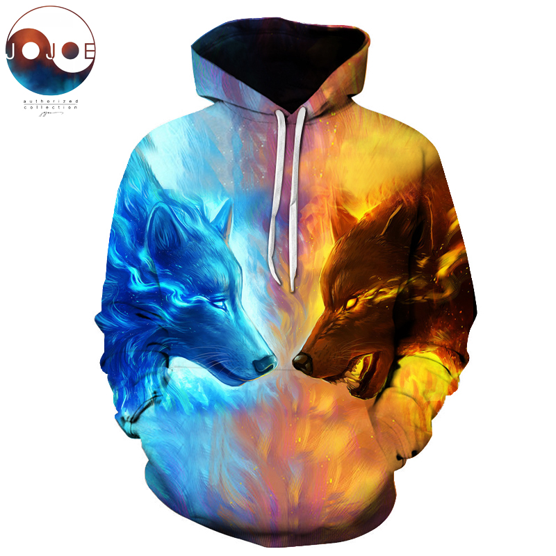 Ice Fire Wolf Hoodies by JoJoesArt 3D Men Women Sweatshirts Fashion Pullover Autumn Tracksuits Harajuku Hoodies Casual Animal