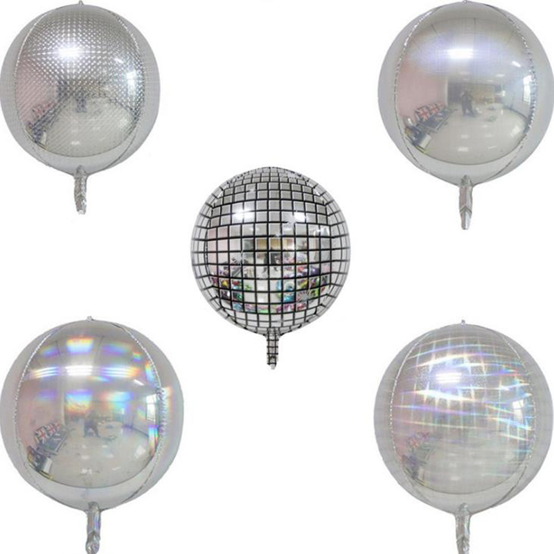 1 Pcs Cute <font><b>22</b></font> Inch Silver Laser 4D Helium Balloons <font><b>Birthday</b></font> Wedding Bar Party Decoration Round Balloons Kids Baby Gift image