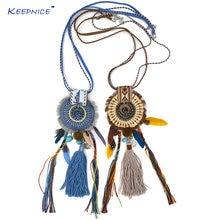 Ожерелье с длинной бахромой и кисточками в этническом стиле