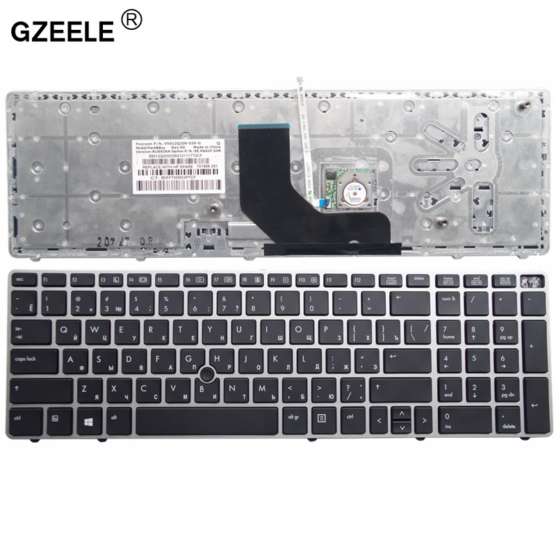 GZEELE Russian Laptop Keyboard FOR  HP EliteBook 8560p 8570P 8560B 6560b 6565b  RU Layout  Silver With Pointing Stick  Keyboard