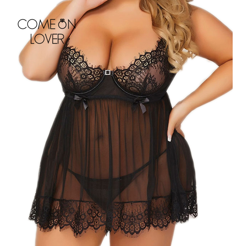 Comeonlover Langerie Sexy Para Mulheres Plus Size Sheer Lace Baby doll Sexy Lingerie Halter Lingerie Sexy Hot Erotic RI80636