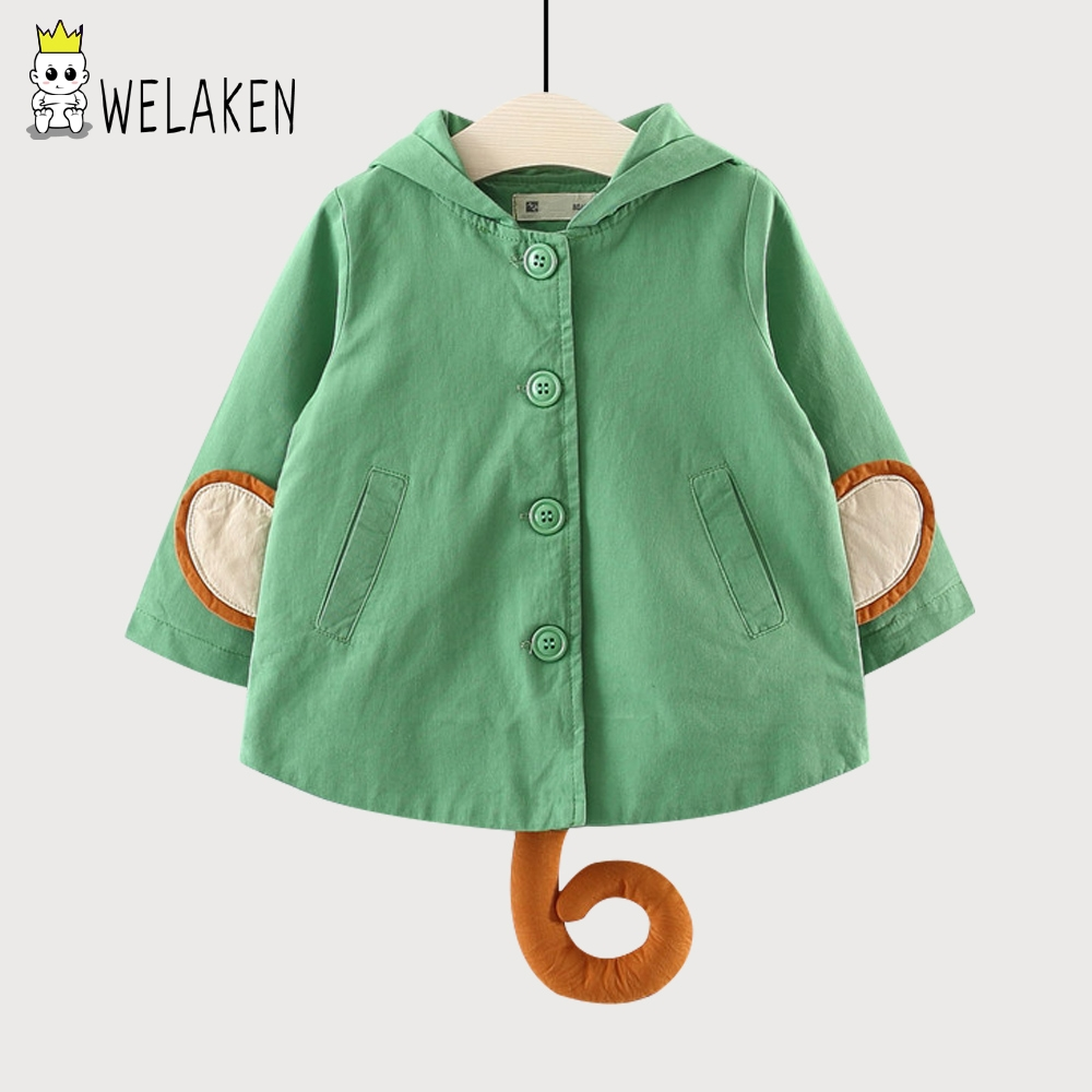 weLaken Kids Jackets 2018 Spring Children Ourwear Cute Cartoon Hat Cloth Cotton Long Sleeve Coat For 9M-3 Years Old Boys Girls