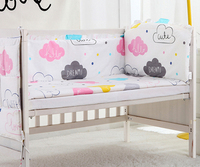 5PCS Cloud Cotton Baby Cot Bedding Set Cartoon Baby Bumper Bed Around Baby Sheet Cot Bumper baby bedding set,(4bumpers+sheet)
