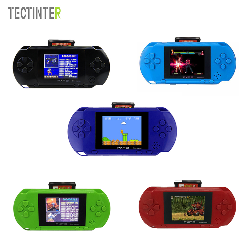 "3"" 16 Bit PXP3 Slim Station Handheld Game Players With 2pcs Game Cartridges Video Game Console Built-in 150 Classic Games Cards"