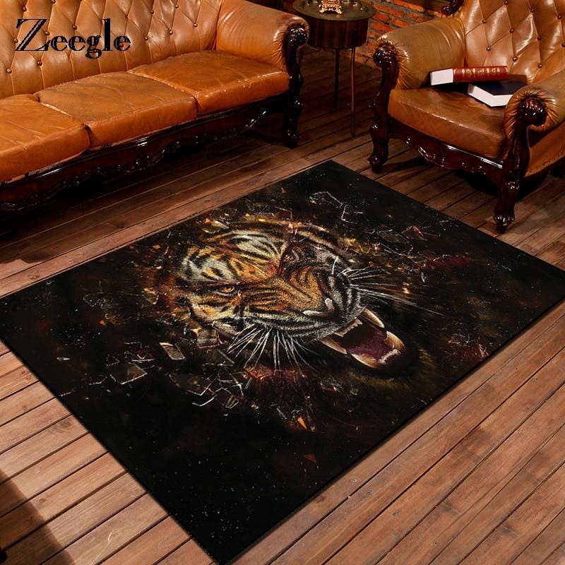 Zeegle 3D Tiger Printed Carpet For Living Room Anti-Slip Coffee Table Floor Decoration Flannel Mat Kids Bedroom Rug