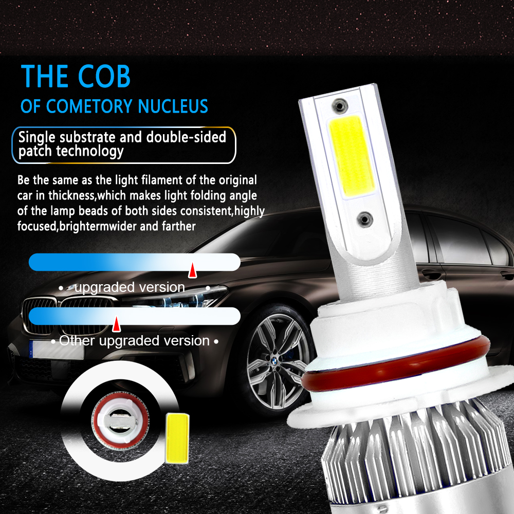 Image 4 - 2pcs Car Lights Bulbs LED H4 H7 9003 HB2 H11 LED H1 H3 H8 H9 880 9005 9006 H13 9004 9007 Auto C6 Headlights 6000K Led Light-in Car Headlight Bulbs(LED) from Automobiles & Motorcycles