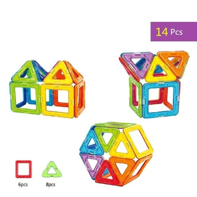 14 Pieces Kids Children  DIY Magnetic Blocks Enlighten Education Wisdom Toys 2D 3D Magnetic Building Block Bricks