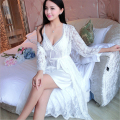 Women Sexy Long section chiffon ransparent nightgown Lace side Sling mini skirt Perspective mesh yarn Lingerie pajamas suit