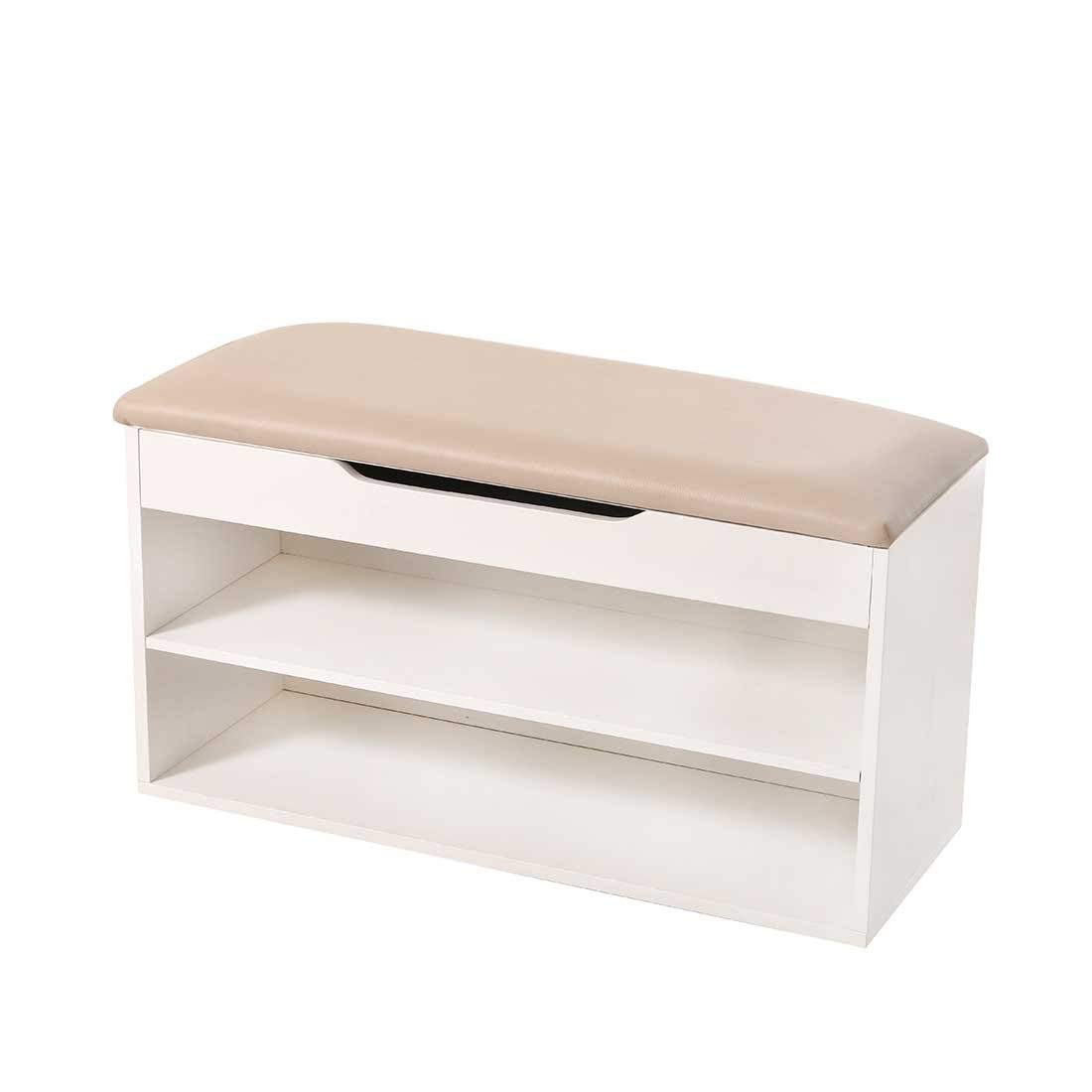 oneisall Wooden Shoe Cabinet with Seat Cushion, Hallway Storage Bench with Lift Up Lid, 87X52X36CM (White) guidecraft classic white storage bench