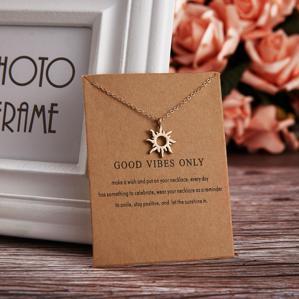 48cm Shorter Necklace Sun Pendants & Necklaces Good Vibes Only Wish Card Jewelry Gold Color Choker Clavicle Chains Necklace Gift