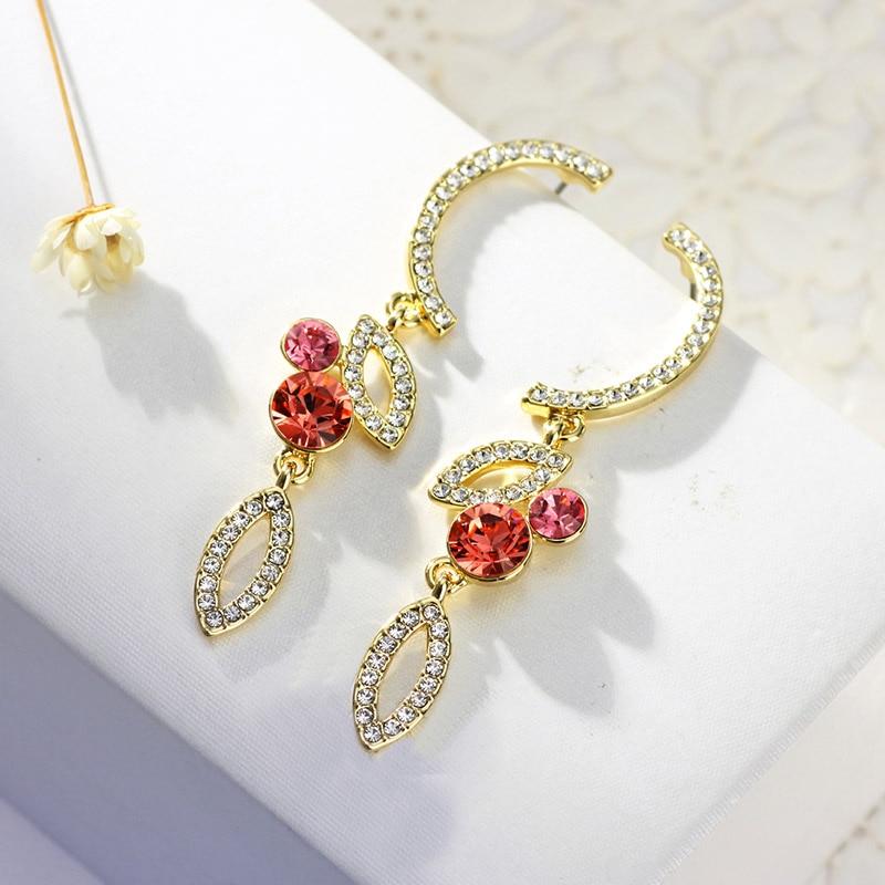 Neoglory Austria Rhinestone   Czech Rhinestone Long Drop Earrings Elegant  Geometric Design Light Yellow Gold Color Fashion-in Drop Earrings from  Jewelry ... 5228834e55df