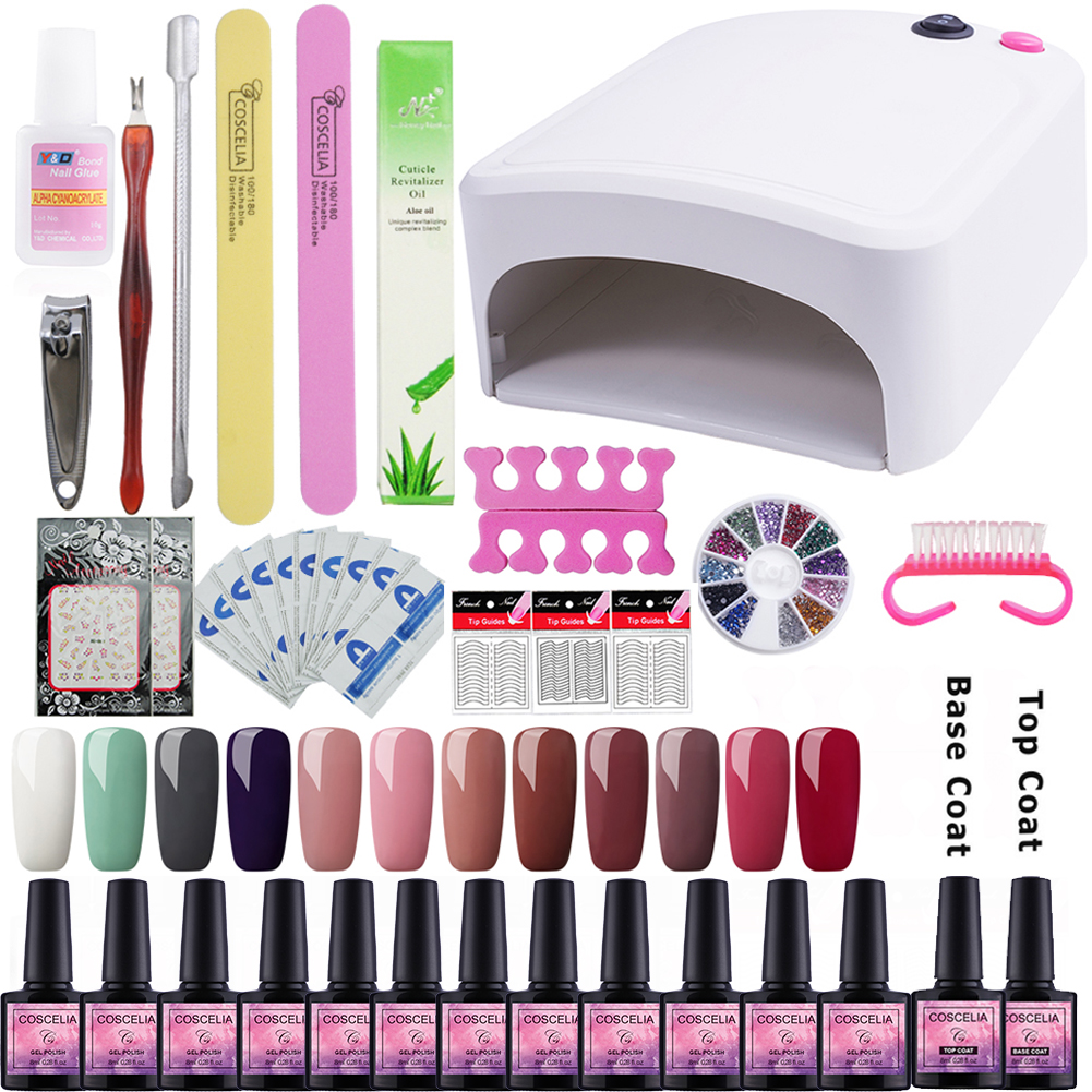 UV Gel Nail Polish Manicure Set COSCELIA 36W UV Lamp Manicure Machine 8ml 40 colors Gel Nail Art Tools Kit