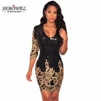 Women Party Dress Winter 2016 Black Gold Sequin Bodycon Dress Sexy V Neck 3 4 Sleeves