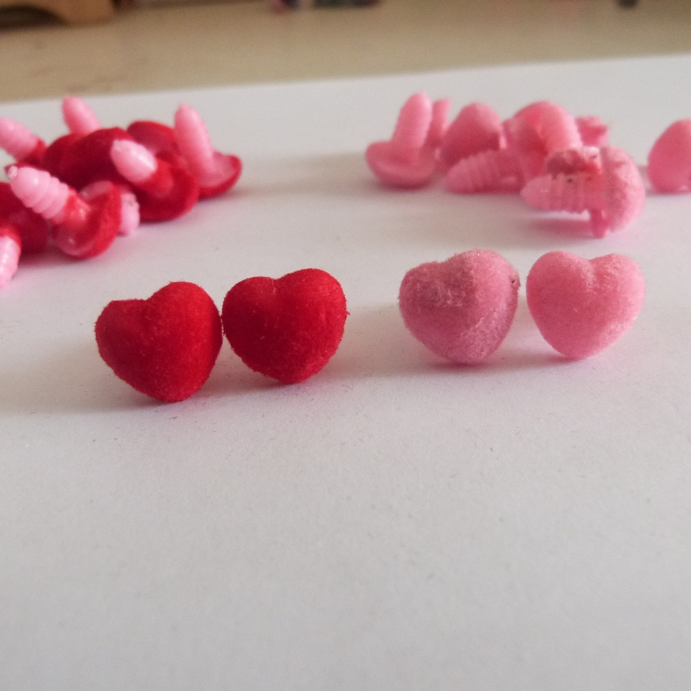 40pcs/lot 12mm Heart Shape Flocking Toy Nose Safety Animal Doll Nose + Soft Washer For Diy Doll Findings--pink /red Option Reputation First
