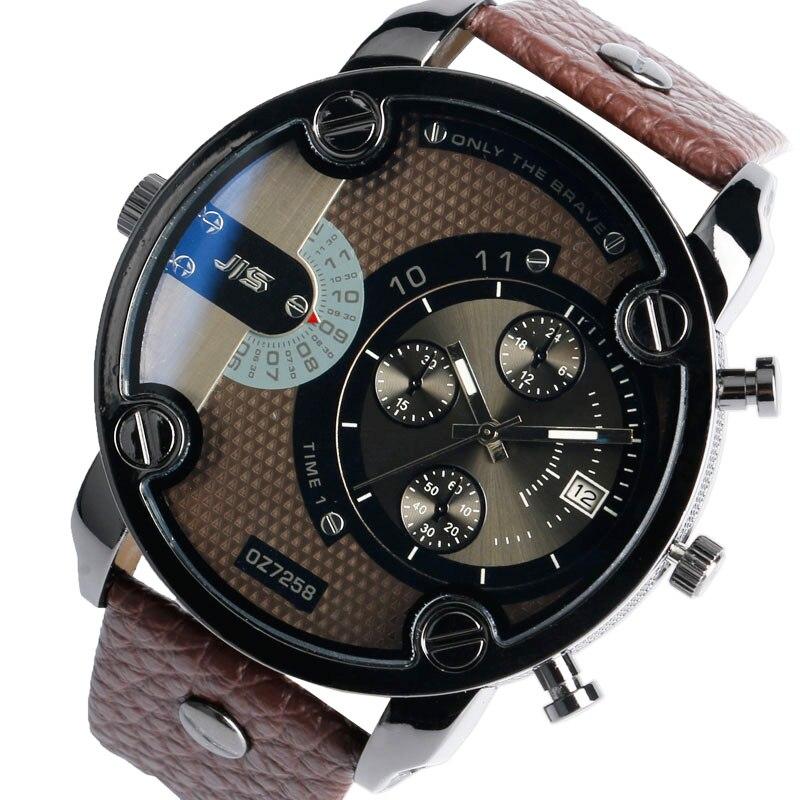 a9a39b7440f JIS Militar Homem Relógio de Quartzo Cara Grande relógio de Pulso Data de  Exibição Calendário Alça Pulseira de Couro Mens Relógios Top Marca de Luxo  Relogio ...