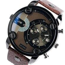 6de751f8e0b6 JIS Militar cuarzo hombre grande Cara reloj fecha mens relojes Top marca de  lujo correa de banda de cuero Calendarios Relogio