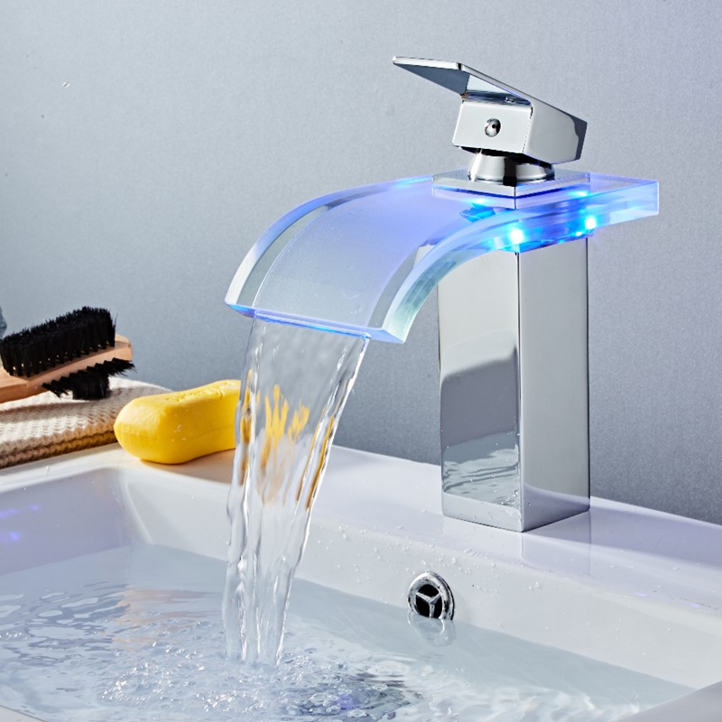 LED Basin Faucet Brass Waterfall Temperature Colors Change Bathroom Mixer Tap Deck Mounted Wash Sink Glass Taps Hot And Cold Tap-in Basin Faucets from Home Improvement