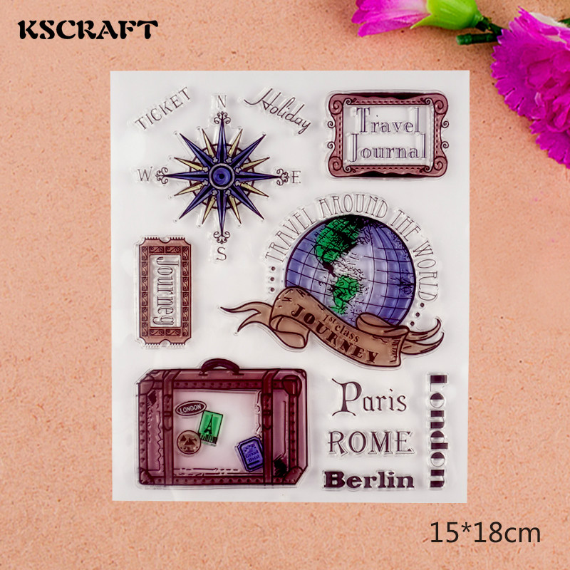 KSCRAFT Travel Journal Transparent Clear Silicone Stamps for DIY Scrapbooking/Card Making/Kids Crafts Fun Decoration Supplies
