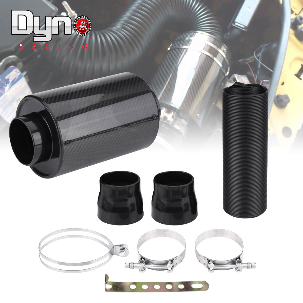 Carbon Fiber Air Filter Box Cold Feed Induction Air Intake System Kit Auto Parts