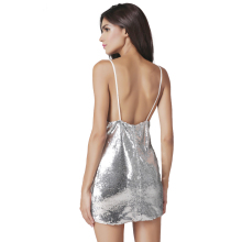 ZADORIN Luxury Deep V Sequin Sundress 2017 Women Sexy Backless Slip Party Club Mini Dress Shinning Silver Summer Dresses Robe