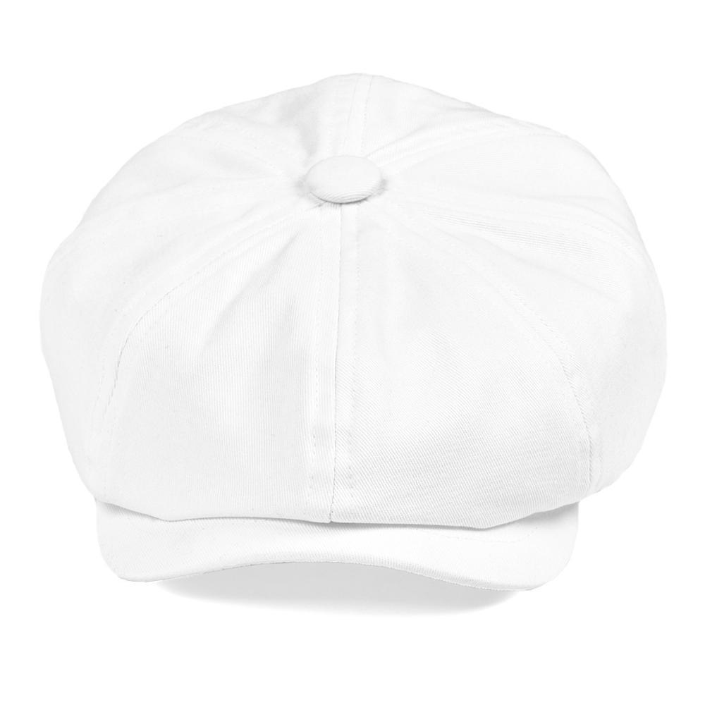 BOTVELA White Twill Cotton Newsboy Cap For Men Women Classic Cabbies Driver Apple Caps Gatsby Flat Hat Baker Boy Headpiece 003