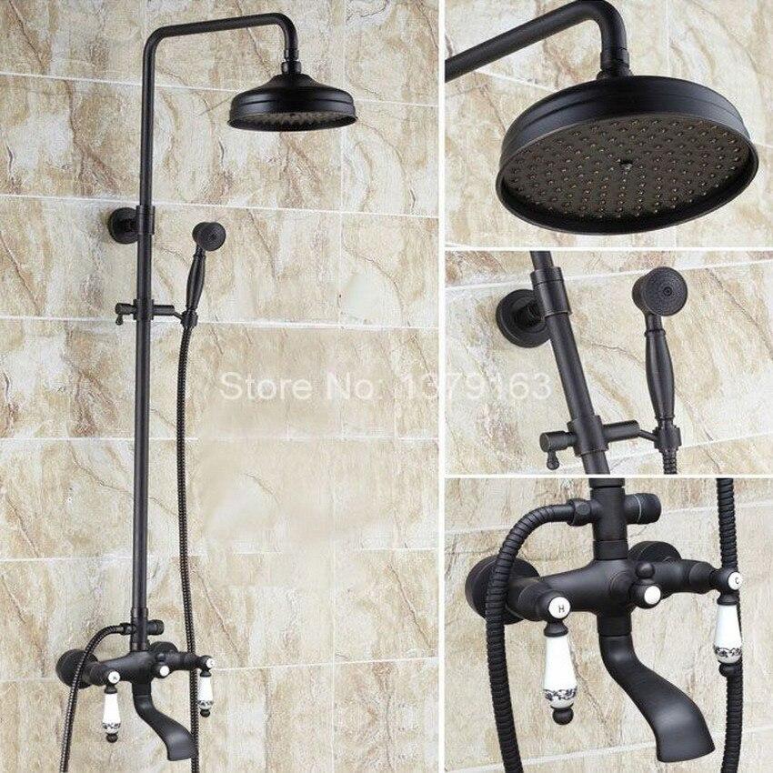 Black Oil Rubbed Brass Wall Mounted Waterfall Rain Shower Faucet Set Dual Ceramic Lever Handle Bathroom Bathtub Water Tap ahg121