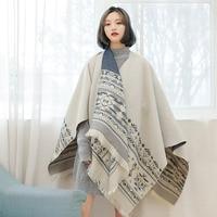 Thicken Cloak Women Cape Coat Shawl Korean Style Winter Cape Femme Capas Ponchos Damas Mujer Capes Hiver Clothes 5ZC0600