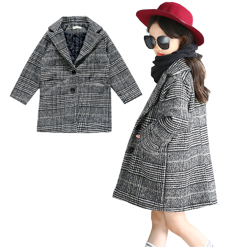 Girls Trench Coat Paid Overcoat Girls Winter Coat Wool Jacket Outerwear Fashion Warm Coat Kids Jacket for Girls Children Clothes winter long wool trench coat men 2017 casual mens jackets coats slim fit men overcoat single breasted pea coat men trench coat