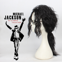 Anime Michael Jackson Long Black Curly Wig Cosplay Costume Hair MJ High Quality Role Play Wigs Free Shipping цены