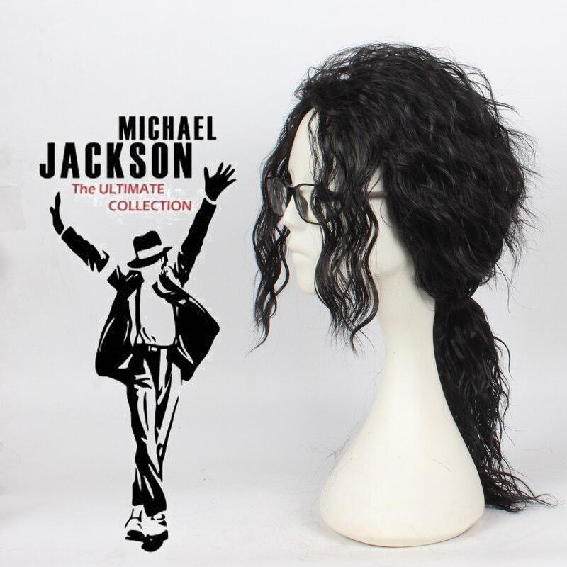 Anime michael jackson longo preto encaracolado peruca cosplay fantasia cabelo mj alta qualidade role play perucas frete grátis