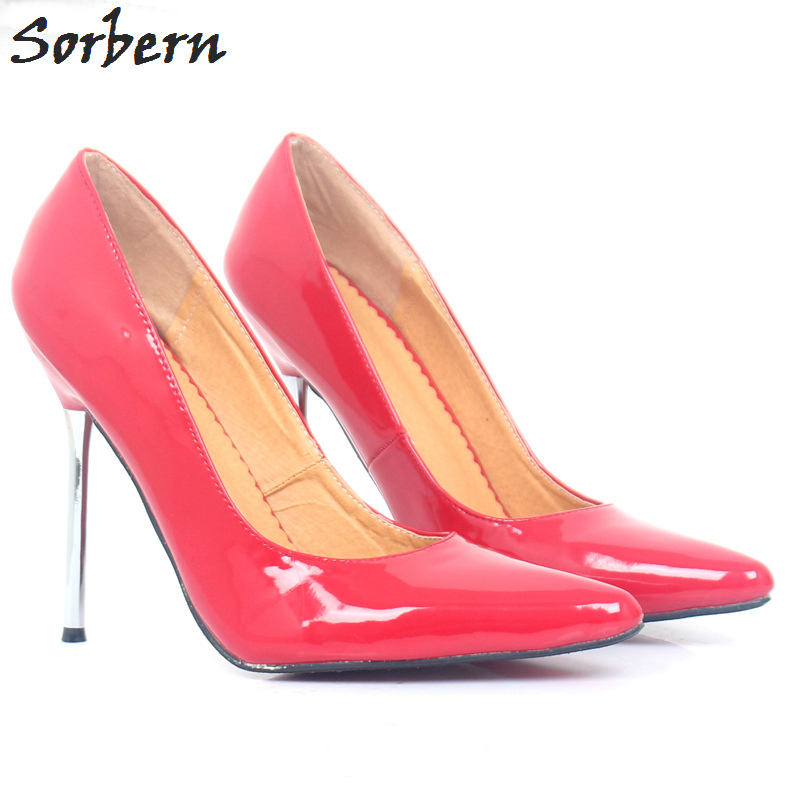 Sorbern Sexy Red Shiny Women Pump Stilettos Metal High Heels Slip On Shoes Woman High Heel Designer Shoes Women Luxury 2018 new arrival women sky blue high heel slip on sexy stilettos white cloud decoration cute bride shoes wedding women stilettos pump